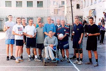 Christian volleyball team in Jelgava prison