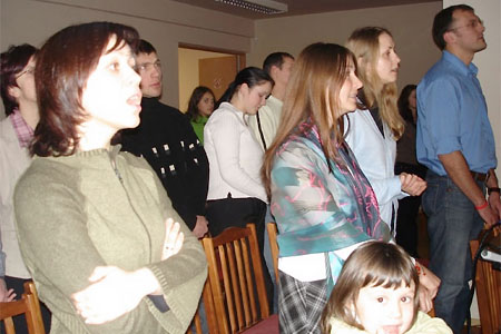 """First worship service of """"Mira"""" Youth Church. January 14, 2006, Lithuania"""