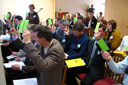 Constituency delegates vote for the new Executive Committee. Kaunas, Lithuania