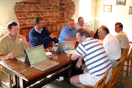 Church leaders finalise BAUC Church Planting team contract plan. Zlēkas, Latvia. July 2006.
