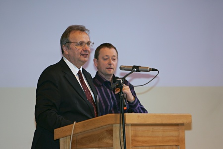 President of the Baltic Union Conference pastor Valdis Zilgalvis (from the left) gives his report to the Constituency meeting [Rīga, Latvia] 2009.06.04.