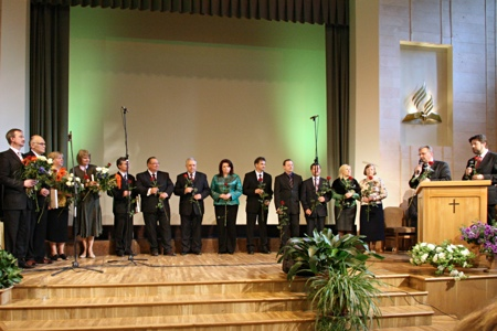 Newly elected Baltic Union Conference administration and department leaders. Closing worship service of the Baltic Union Conference Constituency meeting [Rīga, Latvia] 2009.06.06.
