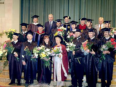 The first 10 Pastor education programme graduates at the graduation ceremony in Riga, Latvia. July 27, 2002.